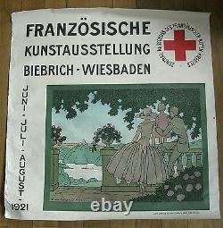BIEBRICH WIESBADEN rare affiche ancienne exposition d'art français 1921 Brissaud