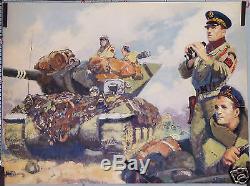 BRENET AFFICHE ANCIENNE PROPAGANDA FUSILIERS MARIN du RBFM en 1944 Char TDM 10