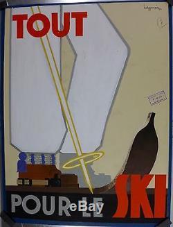 Beau Projet d'Affiche 1934 TOUT POUR LE SKI par H Germain