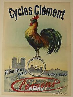 Belle Affiche Ancienne 1900 Cycles CLEMENT pneus DUNLOP entoilée bon état