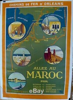 Belle Affiche Ancienne 1924 Allez au MAROC par ALO entoilée TBE