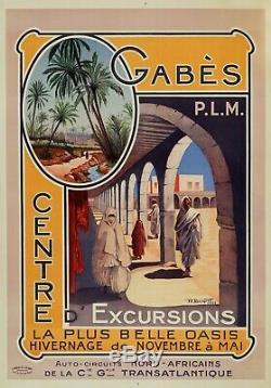 Belle Affiche Ancienne 1924 GABES HIVERNAGE en TUNISIE par Briquet Entoilee