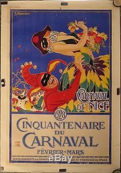 Belle Affiche Ancienne 1928 Cinquantenaire du Carnaval de Nice par Serrachiani