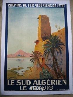 Belle Affiche Ancienne lithographique c 1930 LE SUD ALGERIEN le FIGUIG par REY