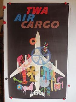 Belle affiche ancienne TWA compagnie aerienne USA aviation