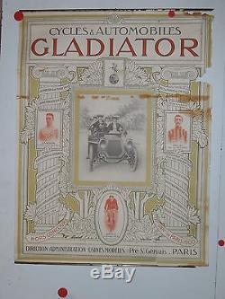 Belle affiche ancienne cycles et automobiles Gladiator debut de siecle