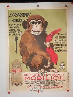 Belle affiche ancienne huile Mobiliol singe 1930 Italie