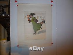 Belle affiche ancienne litho patin a roulette par Jean Droit