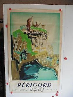 Belle affiche ancienne tourisme Perigord SNCF 1948 par Mc Aroy