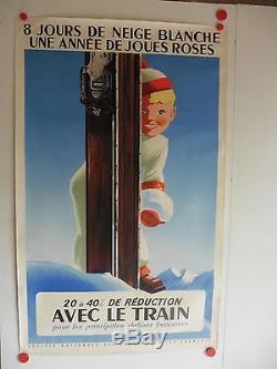 Belle affiche ancienne tourisme SNCF station de ski neige par Roland Hugon
