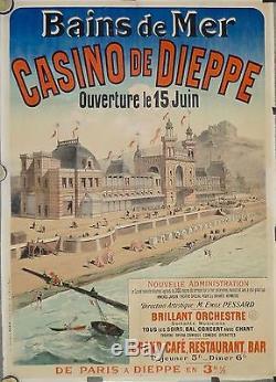 Belle et Rare Affiche Ancienne 1900 CASINO de Dieppe Bains de Mer