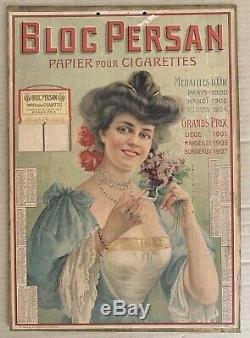 Bloc Persan Papier A Cigarettes Carton Publicitaire Calendrier 1909