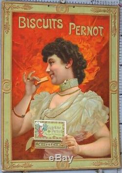 CARTON PUBLICITAIRE ANCIEN BISCUITS PERNOT SUPREME circa 1890-1900