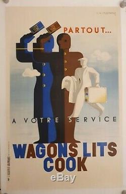 CASSANDRE Affiche Originale Art Deco Wagons lits Cook Alliance Graphique