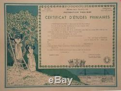 CERTIFICAT D'ETUDES PRIMAIRES par Léo LELEE Diplôme original entoilé 51x41cm