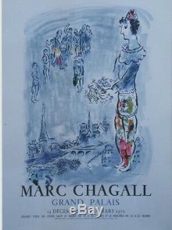 CHAGALL (LE MAGICIEN DE PARIS) Affiche originale entoilée Litho MOURLOT 1970