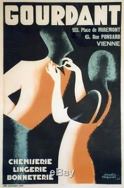 CHEMISERIE GOURDANT Affiche orig. Entoilée Litho Doudou FRAPOTAT 1933 86x126cm