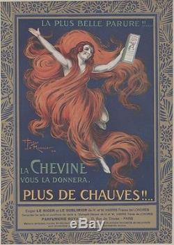 CHEVINE Affiche d'intérieur originale entoilée Litho 1924 Henry LE MONNIER