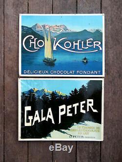 CHOCOLATS GALA PETER et KOHLER- 2 CARTONS PUBLICITAIRES ANCIEN-SUISSE