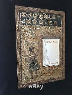 CHOCOLAT MENIER Panneau-cadre miroir en tôle lithographiée Publicitaire
