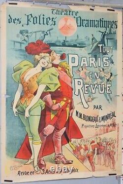 CHOUBRAC AFFICHE ANCIENNE THEATRE FOLIES DRAMATIQUES TOUT PARIS EN REVUE ci1890
