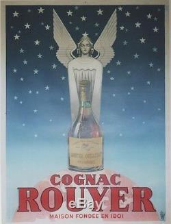 COGNAC ROUYER Affiche originale entoilée Litho 1945 123x163cm