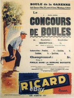 CONCOURS DE BOULES RICARD Affiche originale entoilée offset G. POTIER 54x69cm