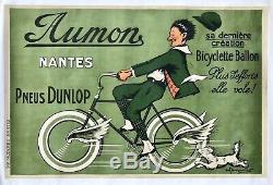 CYCLES AUMON à Nantes /Pneus Dunlop Affiche Lithographiée et entoilée