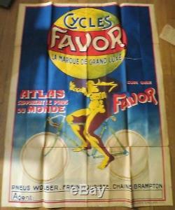 CYCLES FAVOR grande affiche ancienne Atlas supportant le poids du monde