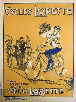CYCLES LORETTE Affiche originale entoilée litho années 20 65x85cm