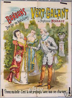 Ch Levy Affiche Publicitaire Ancienne 1896 Bonbons Vert-galant