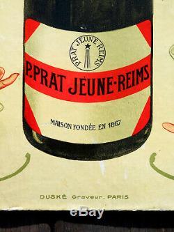 Champagne Prat Jeune Carton Publicitaire Ancien 1900