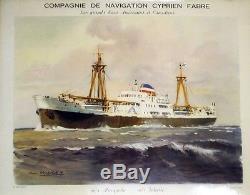 Cie NAVIGATION CYPRIEN FABRE Plaque métallisée originale R. CHAPELET 47x37cm