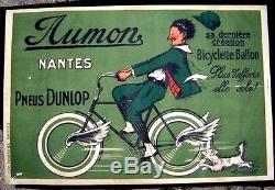 Cycles AUMON Nantes Pneu Dunlop Garage Vélo Rare Affiche ancienne signée