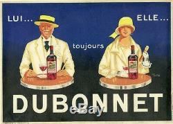 DUBONNET Affiche d'intérieur originale litho entoilée 1924 Jean CARLU 30x40cm