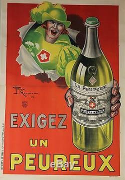 EXIGEZ UN PEUREUX Affiche originale entoilée Litho Henry LEMONNIER 1925