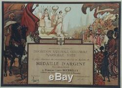 EXPOSITION NATIONALE COLONIALE MARSEILLE 1922 Diplôme entoilé R. DE LA NEZIERE