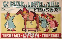 E. Larive Affiche Ancienne Gd Bazard De L'hotel De Ville Etrennes 1908 Lyon