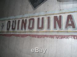 Exceptionnelle bannière 6 mètres publicitaire peinte Quinquina Dubonnet 1900