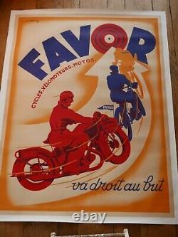 FAVOR Affiche originale entoilée Cycles & Motos vers 1930
