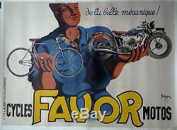 FAVOR cycles et motos par Bellenger GRANDE AFFICHE ORIGINALE ANCIENNE/G56