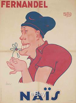 FERNANDEL dans NAÏS Albert DUBOUT Affiche ancienne originale 1945 cinéma
