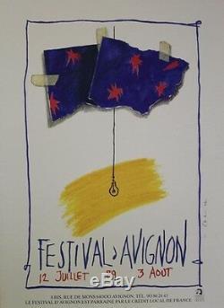FESTIVAL d'AVIGNON 1989 Affiche d'intérieur originale entoilée Jean-Paul CHAMBAS