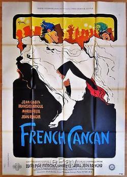 FRENCH CANCAN (1955) Jean RENOIR Jean GABIN Affiche 120 x 160 cm René GRUAU