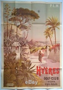 F. Hugo d'Alesi Affiche Original P. L. M. Hyères Golf club 1895
