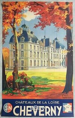 France Cheverny Champseix SNCF, Affiche ancienne tourisme/original travel poster