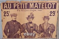 GRANDE AFFICHE ANCIENNE VETEMENTS CYCLISTES HAUT AU PETIT MATELOT cir 1880-90