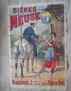 Grande Affiche Publicitaire Biere La Meuse 148 CM X 100 CM Debut 20 Eme Siecle