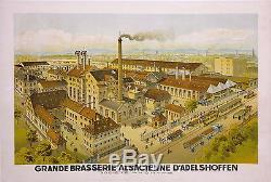 GREINER AFFICHE ANCIENNE BRASSERIE ALSACIENNE D'ADELSHOFFEN BIERE Ci 1910