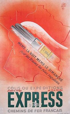 Garretto Affiche Ancienne Chemins De Fer Francais Train Express Fret 1937